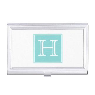 Turquoise Square Monogram Business Card Holder