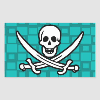 Turquoise Squares Jolly Roger Rectangle Sticker