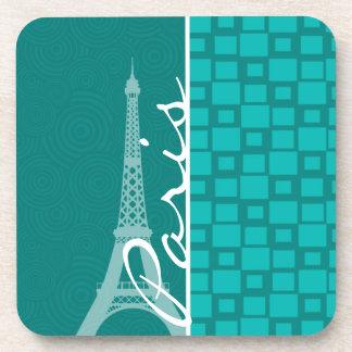 Turquoise Squares; Paris Beverage Coaster