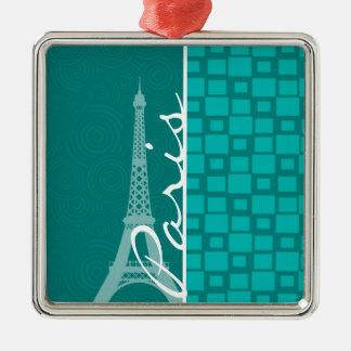 Turquoise Squares; Paris Ornaments