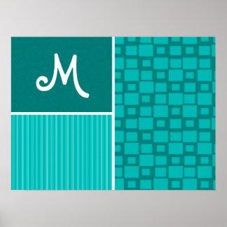 Turquoise Squares; Retro Square Poster