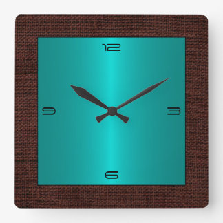 Turquoise Stainless Steel Modern Burlap Border Clocks