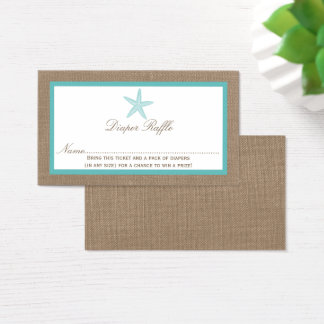 Turquoise Starfish Beach Baby Shower Diaper Raffle Business Card