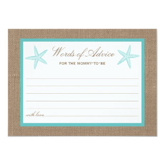 Turquoise Starfish Burlap Beach Baby Shower 11 Cm X 16 Cm Invitation Card