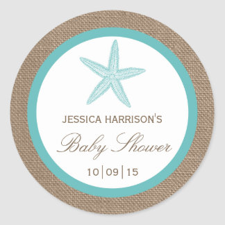 Turquoise Starfish Burlap Beach Baby Shower Round Sticker