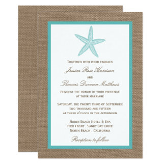 Turquoise Starfish Burlap Beach Wedding Collection 13 Cm X 18 Cm Invitation Card