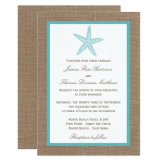 Turquoise Starfish Burlap Beach Wedding Collection 13 Cm X 18 Cm Invitation Card