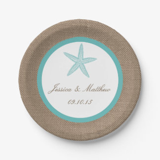 Turquoise Starfish Burlap Beach Wedding Collection 7 Inch Paper Plate