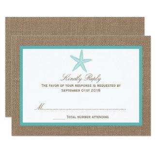 Turquoise Starfish Burlap Beach Wedding Collection 9 Cm X 13 Cm Invitation Card