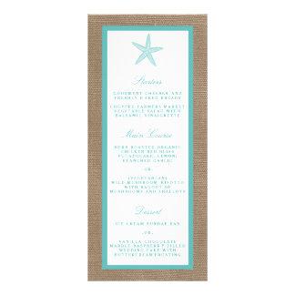 Turquoise Starfish Burlap Beach Wedding Collection Personalised Rack Card