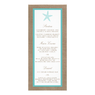 Turquoise Starfish Burlap Beach Wedding Collection Personalized Rack Card