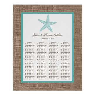 Turquoise Starfish Burlap Beach Wedding Collection Poster