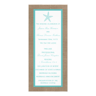 Turquoise Starfish Burlap Beach Wedding Collection Full Color Rack Card