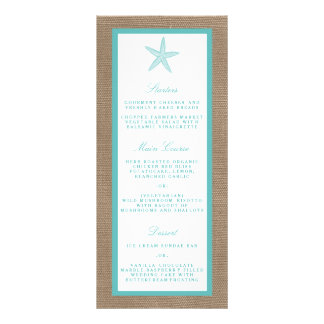 Turquoise Starfish Burlap Beach Wedding Collection Personalised Rack Card