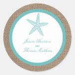 Turquoise Starfish Burlap Beach Wedding Collection Round Sticker