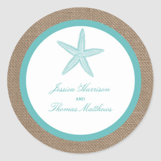 Turquoise Starfish Burlap Beach Wedding Collection Round Sticker