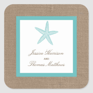 Turquoise Starfish Burlap Beach Wedding Collection Square Sticker