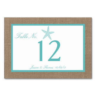 Turquoise Starfish Burlap Beach Wedding Collection Table Card