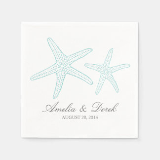 Turquoise Starfish Cocktail Napkins Paper Napkins