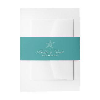 Turquoise Starfish Invitation Belly Band