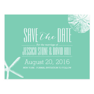 Turquoise Starfish & Sand Dollar Save the Date Postcard