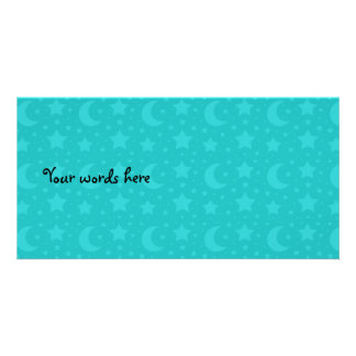 Turquoise stars and moons customized photo card