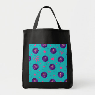 Turquoise stars hearts bows purple scallop gymnast canvas bags