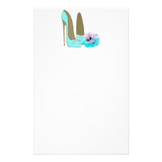 Turquoise Stiletto and Rose Art Stationery Paper