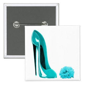 Turquoise Stiletto Shoe and Rose 15 Cm Square Badge