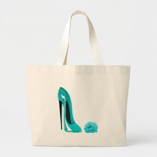Turquoise Stiletto Shoe and Rose Tote Bags