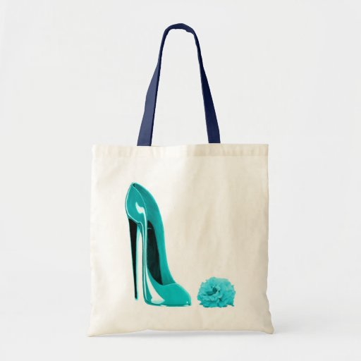 Turquoise Stiletto Shoe and Rose Tote Bag