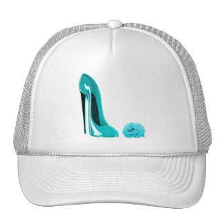 Turquoise Stiletto Shoe and Rose Cap