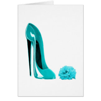 Turquoise Stiletto Shoe and Rose Greeting Card