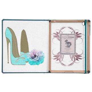 Turquoise Stiletto Shoe and Rose Dodo iPad Case