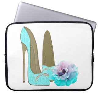 Turquoise Stiletto Shoe and Rose Electronic Case Computer Sleeve