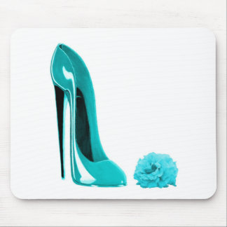 Turquoise Stiletto Shoe and Rose Mousemat