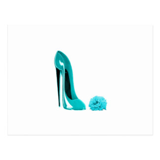 Turquoise Stiletto Shoe and Rose Postcard