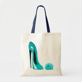 Turquoise Stiletto Shoe and Rose Budget Tote Bag