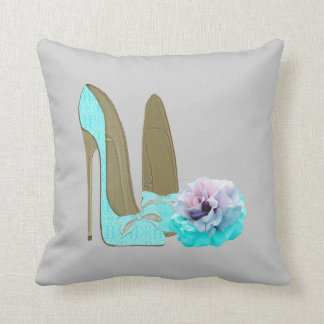 Turquoise Stiletto Shoes and Rose Art Pillow Throw Cushion