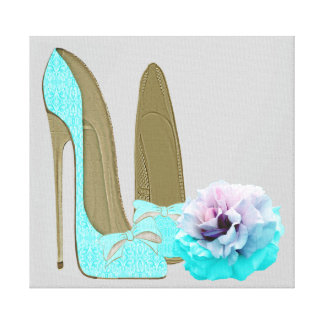 Turquoise Stiletto Shoes and Rose Canvas Print