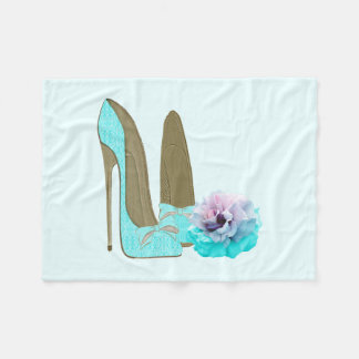 Turquoise Stiletto Shoes and Rose Throw Blanket
