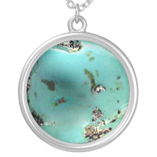 Turquoise Stone Image Silver Plated Round Necklace