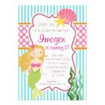 Turquoise Stripe, Pink Polka Dot Blonde Mermaid Card