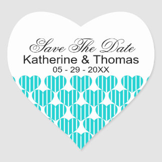 Turquoise Striped Hearts Save The Date Stickers