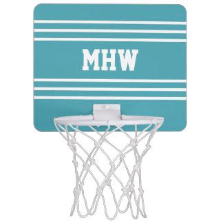 Turquoise Stripes custom monogram mini hoop
