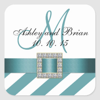 Turquoise Stripes Initial Wedding Favor Label Square Sticker