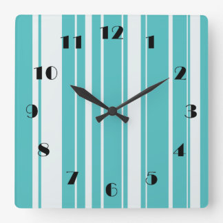 Turquoise Stripes Pattern Wall Clock