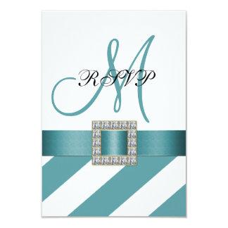 Turquoise Stripes, Ribbon, Initial Wedding RSVP 9 Cm X 13 Cm Invitation Card