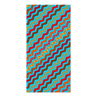 Turquoise Stripes Zig Zag Geometric Designs Color Photo Cards