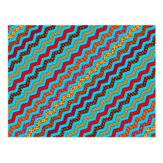 Turquoise Stripes Zig Zag Geometric Designs Color Postcard